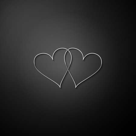 Silver Two Linked Hearts icon isolated on black background. Heart two love. Romantic symbol linked, join, passion and wedding. Valentine day symbol. Long shadow style. Vector