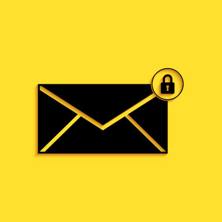 Black Email message lock password icon isolated on yellow background. Envelope with padlock. Private mail and security, secure, protection, privacy. Long shadow style. Vector