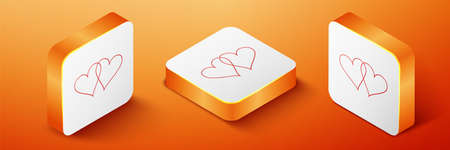 Isometric Two Linked Hearts icon isolated on orange background. Heart two love. Romantic symbol linked, join, passion and wedding. Valentine day symbol. Orange square button. Vector