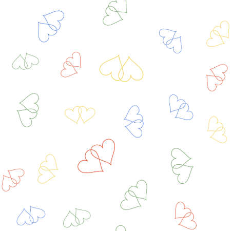 Color Two Linked Hearts icon isolated seamless pattern on white background. Heart two love. Romantic symbol linked, join, passion and wedding. Valentine day symbol. Vector