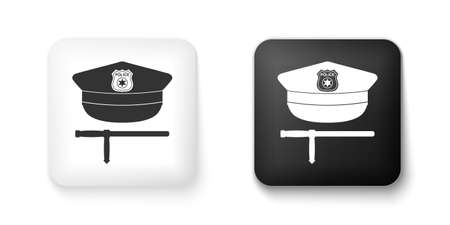 Black and white Police cap and rubber baton icon isolated on white background. Security truncheons. Police stick. Policeman uniform. Square button. Vector