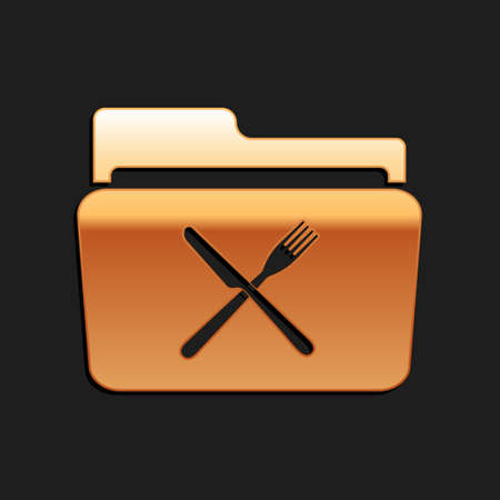 Gold Crossed fork and knife over folder icon isolated on black background. Restaurant symbol. Long shadow style. Vector