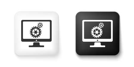 Black and white Computer monitor and gears icon isolated on white background. Adjusting app, service, setting options, maintenance, repair, fixing concepts. Square button. Vector