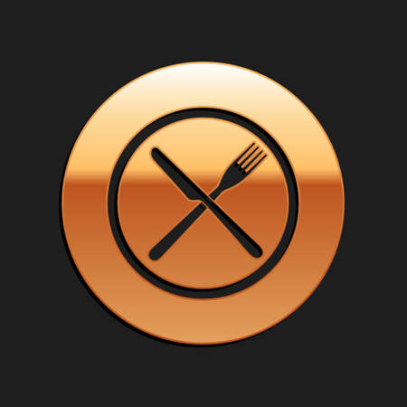 Gold Crossed fork and knife on plate icon isolated on black background. Restaurant symbol. Long shadow style. Vector