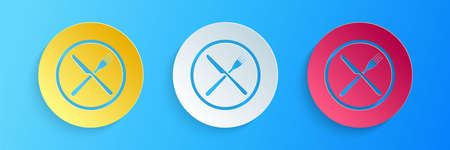 Paper cut Crossed fork and knife on plate icon isolated on blue background. Restaurant symbol. Paper art style. Vector Illusztráció