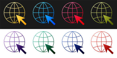 Set Go To Web icon isolated on black and white background. Globe and cursor. Website pictogram. World wide web symbol. Vector