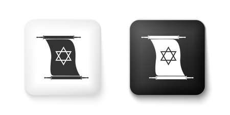 Black and white Torah scroll icon isolated on white background. Jewish Torah in expanded form. Torah Book. Star of David symbol. Simple old parchment scroll. Square button. Vector