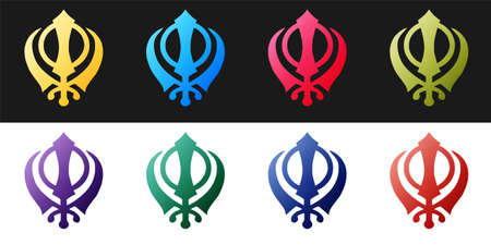 Set Sikhism religion Khanda symbol icon isolated on black and white background. Khanda Sikh symbol. Vector Illusztráció