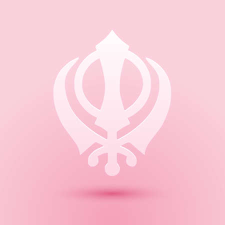 Paper cut Sikhism religion Khanda symbol icon isolated on pink background. Khanda Sikh symbol. Paper art style. Vector