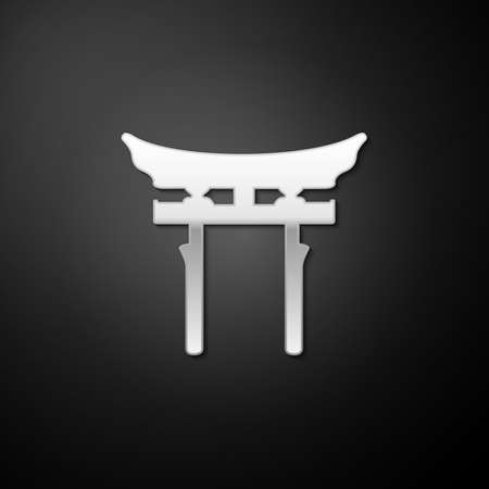 Silver Japan Gate icon isolated on black background. Torii gate sign. Japanese traditional classic gate symbol. Long shadow style. Vector