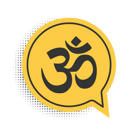 Black Om or Aum Indian sacred sound icon isolated on white background. The symbol of the divine triad of Brahma, Vishnu and Shiva. Yellow speech bubble symbol. Vector