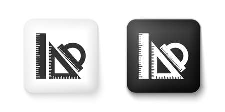 Black and white Set ruler, triangular ruler and protractor icon isolated on white background. Straightedge sign. Triangle sign. Geometrical instruments. Square button. Vector
