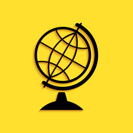 Black Earth globe icon isolated on yellow background. Long shadow style. Vector