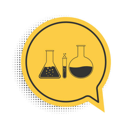 Black Test tube and flask - chemical laboratory test icon isolated on white background. Laboratory glassware sign. Yellow speech bubble symbol. Vector Illusztráció