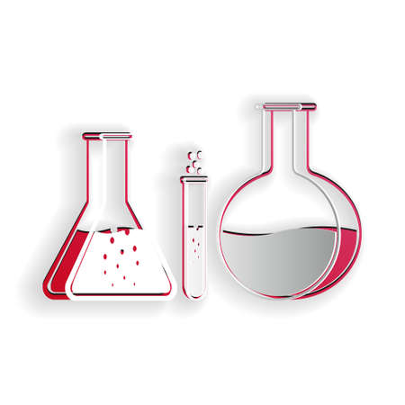 Paper cut Test tube and flask - chemical laboratory test icon isolated on white background. Laboratory glassware sign. Paper art style. Vector Illusztráció