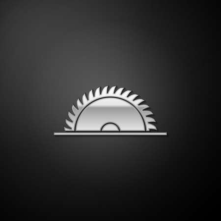 Silver Circular saw blade icon isolated on black background. Saw wheel. Long shadow style. Vector Illusztráció