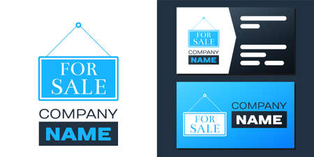 Hanging sign with text For Sale icon isolated on white background. Design template element. Vector