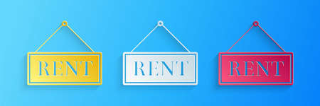 Paper cut Hanging sign with text Rent icon isolated on blue background. Paper art style. Vector