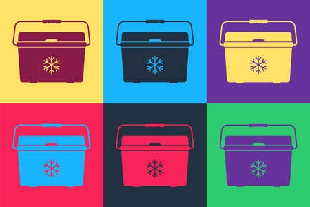 Pop art Cooler bag icon isolated on color background. Portable freezer bag. Handheld refrigerator. Vector Illusztráció