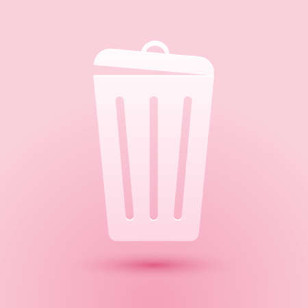 Paper cut Trash can icon isolated on pink background. Garbage bin sign. Recycle basket icon. Office trash icon. Paper art style. Vector Illusztráció