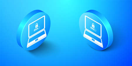 Isometric Laptop with password notification and lock icon isolated on blue background. Concept of security, personal access, user authorization, login form. Blue circle button. Vector Illusztráció
