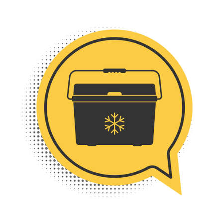 Black Cooler bag icon isolated on white background. Portable freezer bag. Handheld refrigerator. Yellow speech bubble symbol. Vector