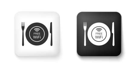 Black and white Restaurant Free WiFi zone icon isolated on white background. Plate, fork and knife sign. Square button. Vector