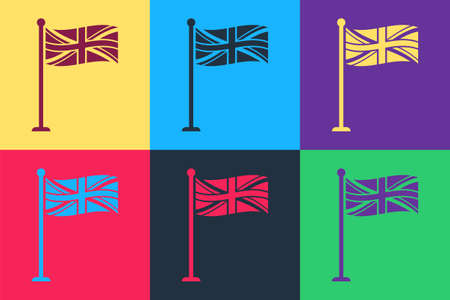 Pop art Flag of Great Britain on flagpole icon isolated on color background. UK flag sign. Official United Kingdom flag sign. British symbol. Vector