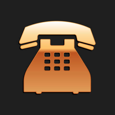 Gold Telephone icon isolated on black background. Landline phone. Long shadow style. Vector Illusztráció