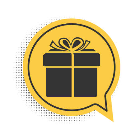 Black Gift box icon isolated on white background. Yellow speech bubble symbol. Vector