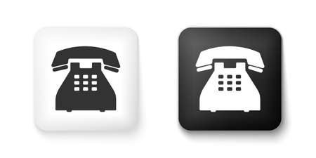 Black and white Telephone icon isolated on white background. Landline phone. Square button. Vector