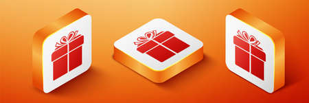 Isometric Gift box icon isolated on orange background. Orange square button. Vector
