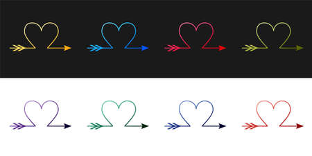 Set Cupid arrow heart, Valentines Day cards icon isolated on black and white background. Vector