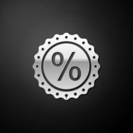 Silver Percent symbol discount icon isolated on black background. Sale percentage - price label, tag. Long shadow style. Vector