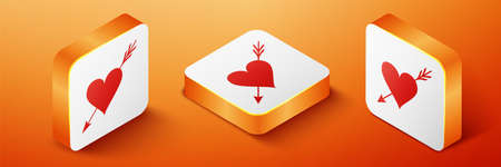 Isometric Amour symbol with heart and arrow icon isolated on orange background. Love sign. Valentines symbol. Orange square button. Vector