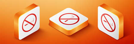 Isometric No Smoking icon isolated on orange background. Cigarette symbol. Orange square button. Vector