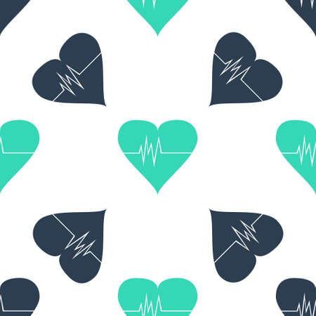 Green Heart rate icon isolated seamless pattern on white background. Heartbeat sign. Heart pulse icon. Cardiogram icon. Vector