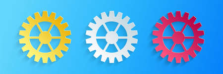 Paper cut Gear icon isolated on blue background. Cogwheel gear settings sign. Cog symbol. Paper art style. Vector