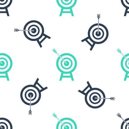 Green Target with arrow icon isolated seamless pattern on white background. Dart board sign. Archery board icon. Dartboard sign. Business goal concept. Vector Illusztráció