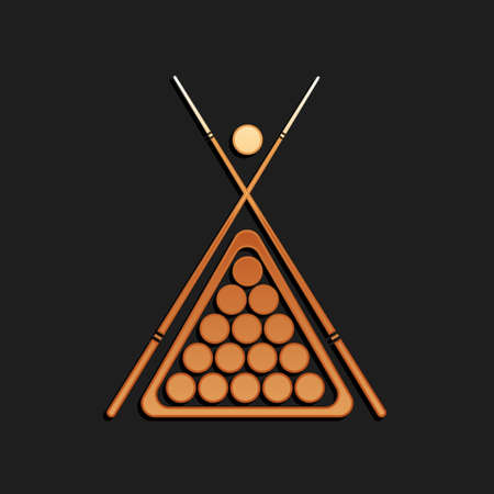 Gold Billiard cue and balls in a rack triangle icon isolated on black background. Long shadow style. Vector Illusztráció