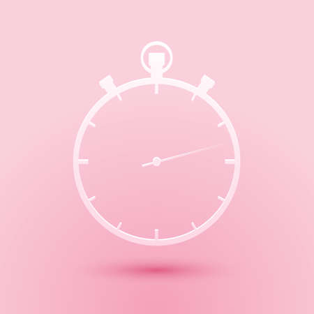 Paper cut Stopwatch icon isolated on pink background. Time timer sign. Paper art style. Vector