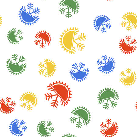 Color Hot and cold symbol. Sun and snowflake icon isolated seamless pattern on white background. Winter and summer symbol. Vector