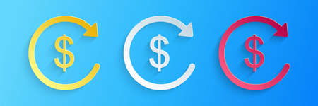 Paper cut Refund money icon isolated on blue background. Financial services, cash back concept, money refund, return on investment, currency exchange. Paper art style. Vector