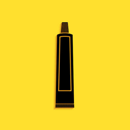 Black Tube of toothpaste icon isolated on yellow background. Long shadow style. Vector