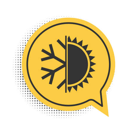 Black Hot and cold symbol. Sun and snowflake icon isolated on white background. Winter and summer symbol. Yellow speech bubble symbol. Vector Stock Illustratie