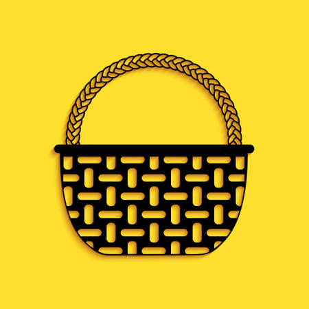 Black Shopping basket icon isolated on yellow background. Online buying concept. Delivery service sign. Shopping cart symbol. Long shadow style. Vector Иллюстрация