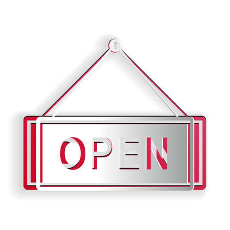 Paper cut Hanging sign with text Open door icon isolated on white background. Paper art style. Vector Иллюстрация