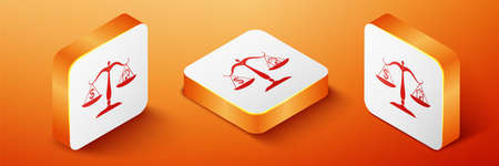 Isometric House and dollar symbol on scales icon isolated on orange background. Orange square button. Vector 向量圖像