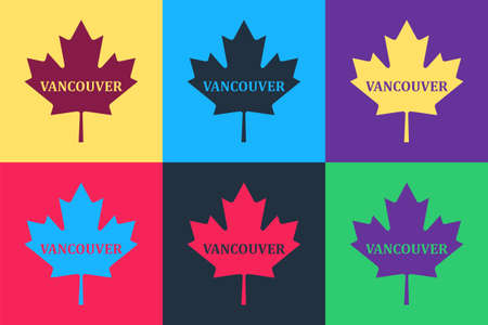 Pop art Canadian maple leaf with city name Vancouver icon isolated on color background. Vector