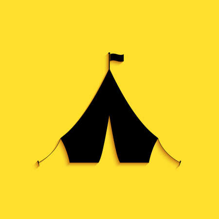 Black Tourist tent with flag icon isolated on yellow background. Long shadow style. Vector